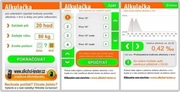 Webová a mobilní verze on-line alkohol testu